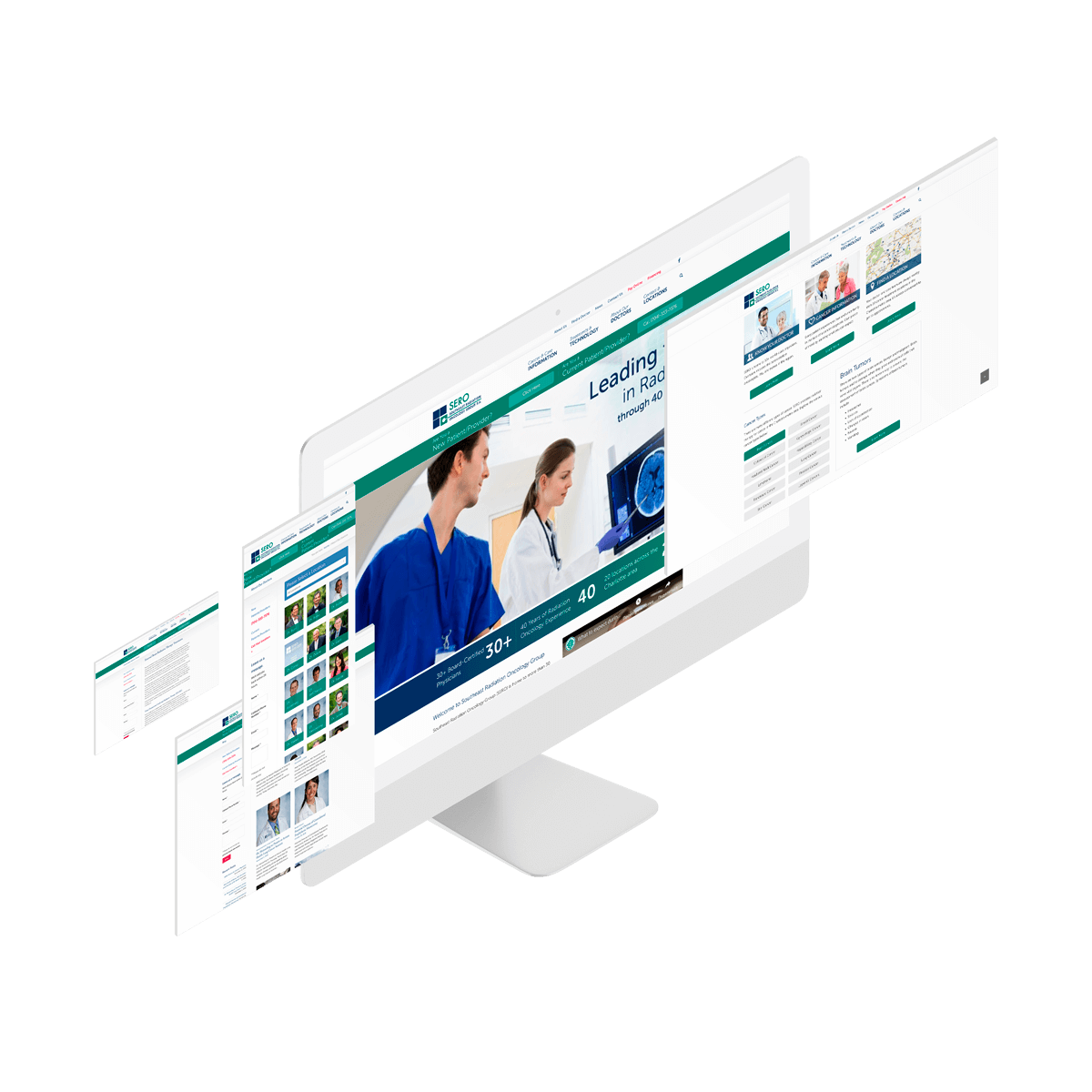 Screens with white and green colors oncology website interface